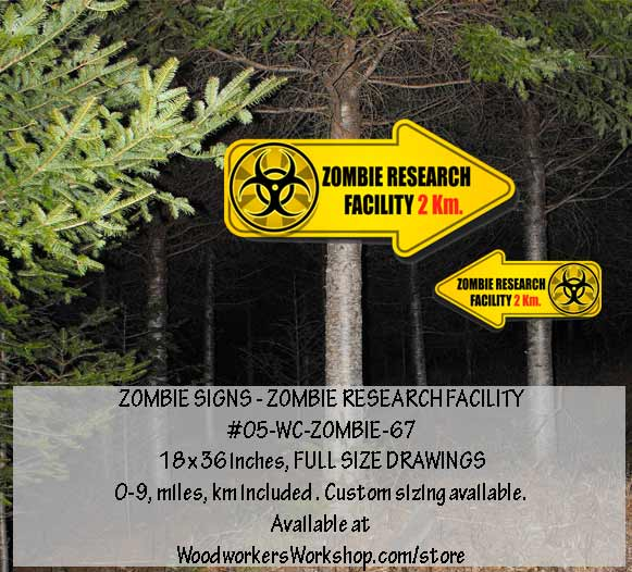 Zombie Research Facility Signs Yard Art Woodworking Plan