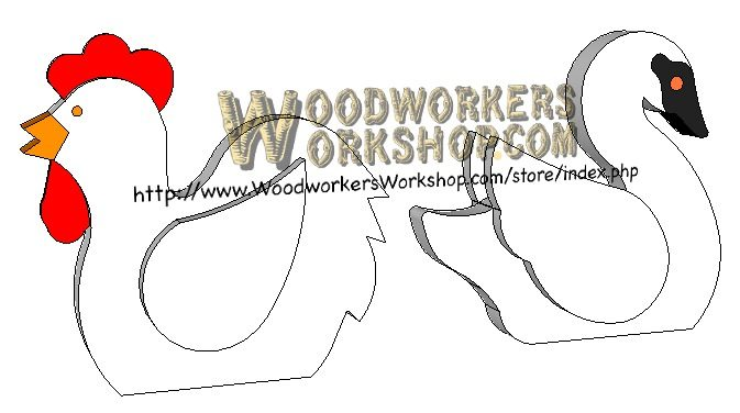 Swan and Hen Critters Downloadable Scrollsaw Woodworking Plan