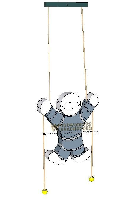 Climbing Spaceman Pull Toy Downloadable Scrollsaw Wood Craft Plan