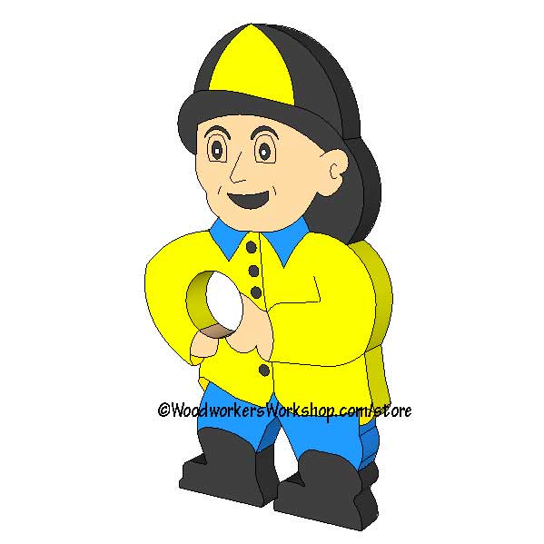 05-WP-041 - Fireman Garden Hose Holder Downloadable Scrollsaw Woodworking Pattern PDF