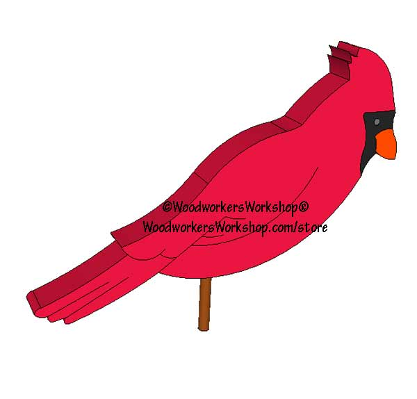 Red Cardinal Garden Poke Scrollsaw Woodworking Pattern Download