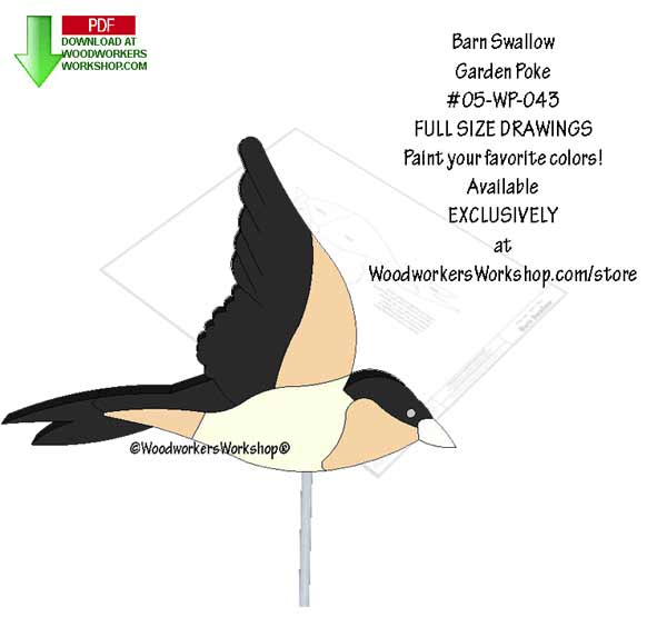 Barn Swallow Garden Poke Downloadable Scrollsaw Woodworking Pattern