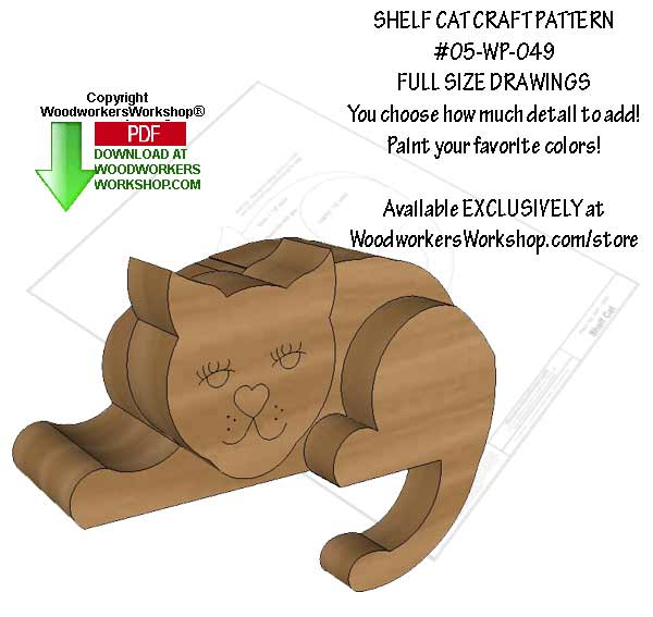 Shelf Cat Downloadable Scrollsaw Woodworking Pattern