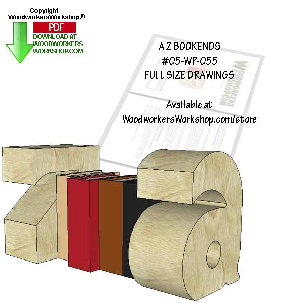 05-WP-055 - A Z Bookends Downloadable Scrollsaw Woodworking Pattern PDF