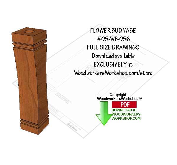 Flower Bud Vase Downloadable Scrollsaw Woodworking Pattern