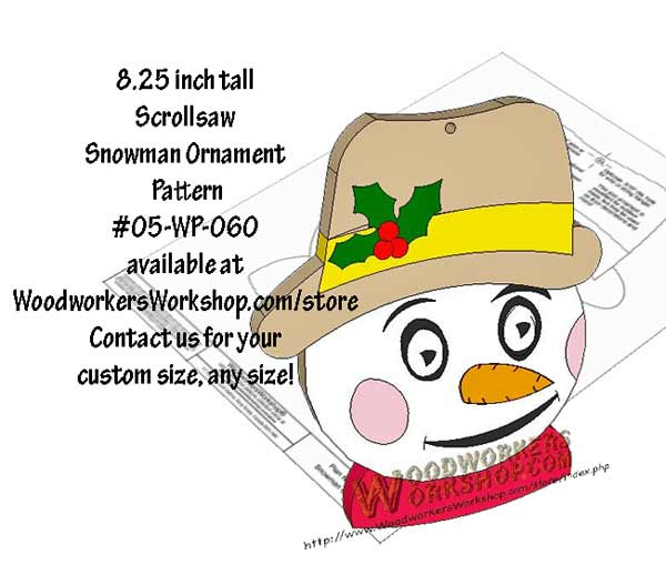 05-WP-060 - Snowman Ornament Downloadable Scrollsaw Woodworking Plan PDF