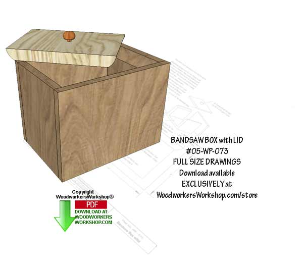 05-WP-073 - Bandsaw Box with Lid Downloadable Scrollsaw Woodworking Pattern PDF