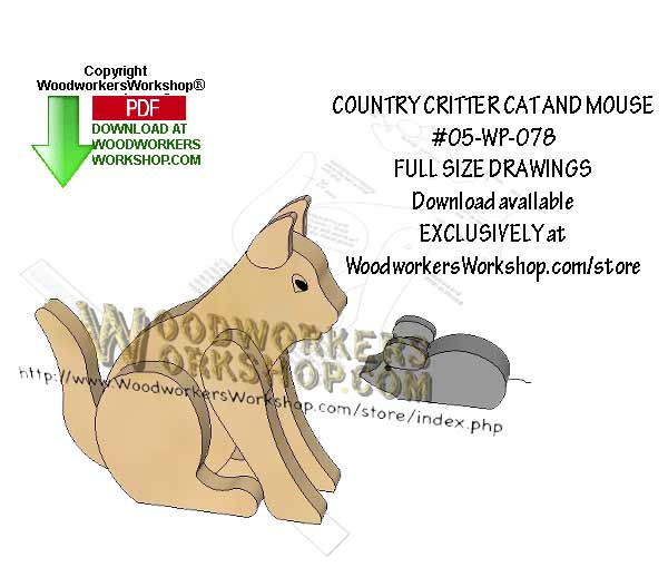 Country Critters Cat Downloadable Scrollsaw Woodworking Pattern