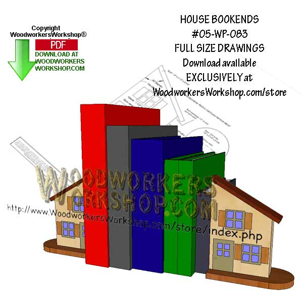 05-WP-083 - House Bookends Downloadable Scrollsaw Woodworking Pattern PDF