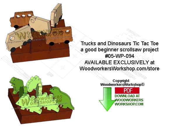 Dinosaurs and Trucks Tic Tac Toe Scrollsaw Woodworking Pattern