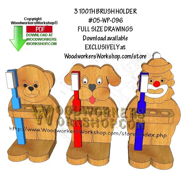 3 Toothbrush Holders Downloadable Scrollsaw Woodworking Pattern