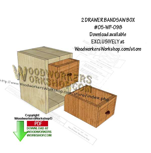 05-WP-098 - 2 Drawer Bandsaw Box Downloadable Scrollsaw Woodworking Pattern PDF