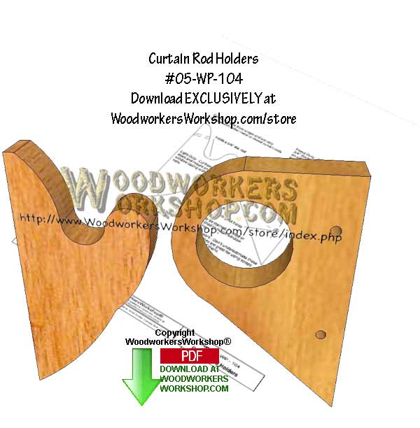 05-WP-104 - 2 Curtain Rod Holders Downloadable Scrollsaw Woodworking Pattern PDF