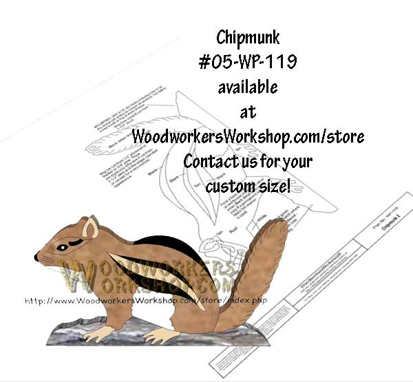05-WP-119 - Chipmunk Downloadable Scrollsaw Woodworking Plan PDF