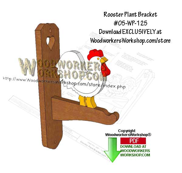Rooster Plant Bracket Downloadable Scrollsaw Woodcrafting Pattern