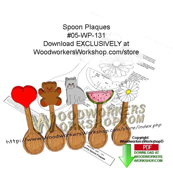 05-WP-131 - Spoon Plaques Downloadable Scrollsaw Woodcrafting Pattern PDF