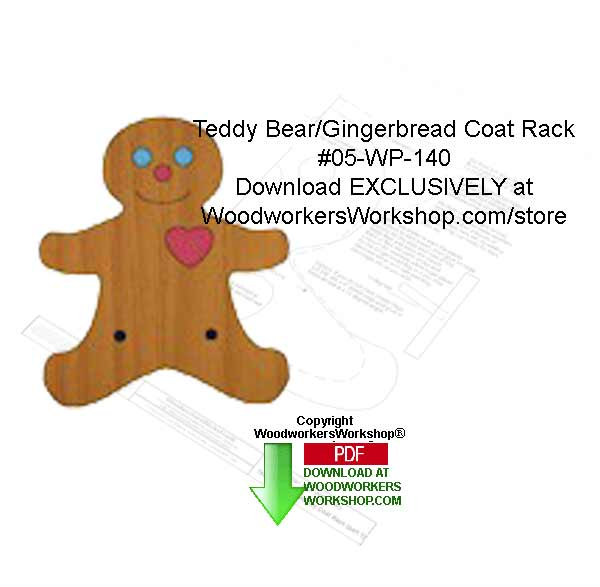 Teddy/Gingerbread Coat Rack Downloadable Woodcrafting Pattern