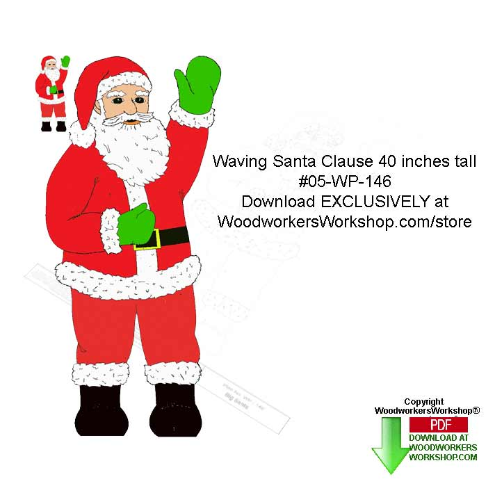 05-WP-146 - Waving Santa 40 inches tall Downloadable Woodcrafting Pattern PDF