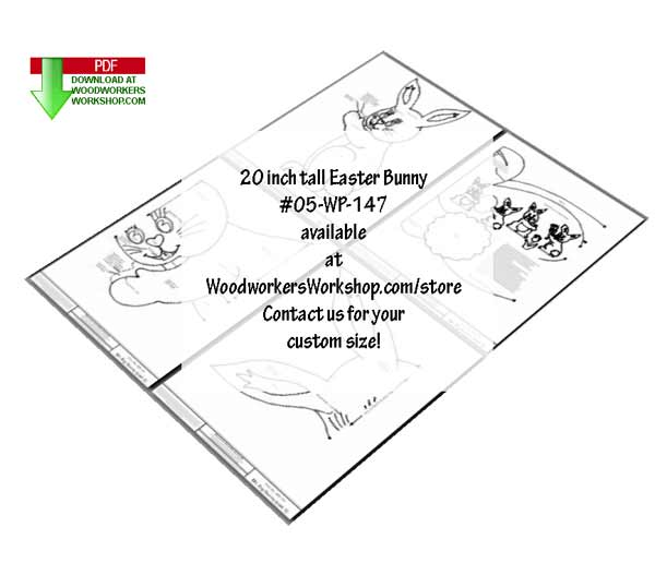 05-WP-147 - 20 inch tall Mr Bunny Downloadable Scrollsaw Woodworking Plan PDF