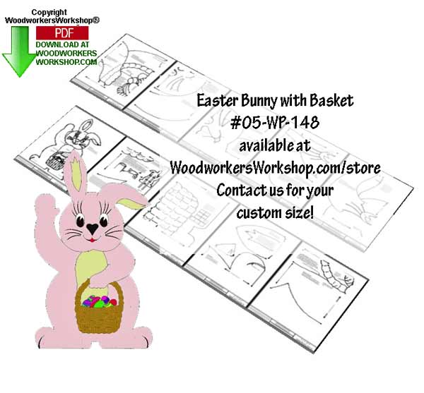 05-WP-148 - 32 inch tall Easter Bunny with Basket Downloadable Scrollsaw Plan PDF