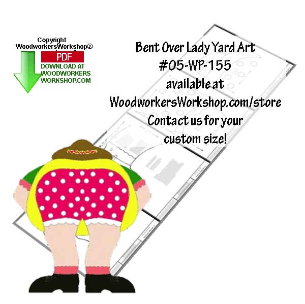 Bent Over Lady Gardener Yard Art Downloadable Jig saw Woodworking Plan
