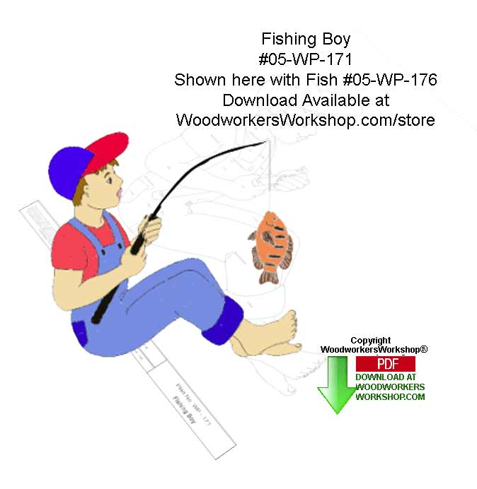 05-WP-171 - Fishing Boy Downloadable Scrollsaw Woodcrafting Pattern PDF