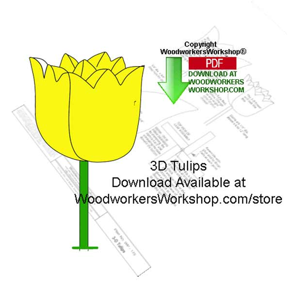 3D Tulips Downloadable Scrollsaw Woodworking Patterns
