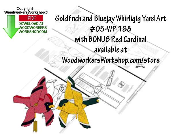 05-WP-188 - Goldfinch and Bluebird Whirligigs and BONUS plan Scrollsaw Pattern PDF