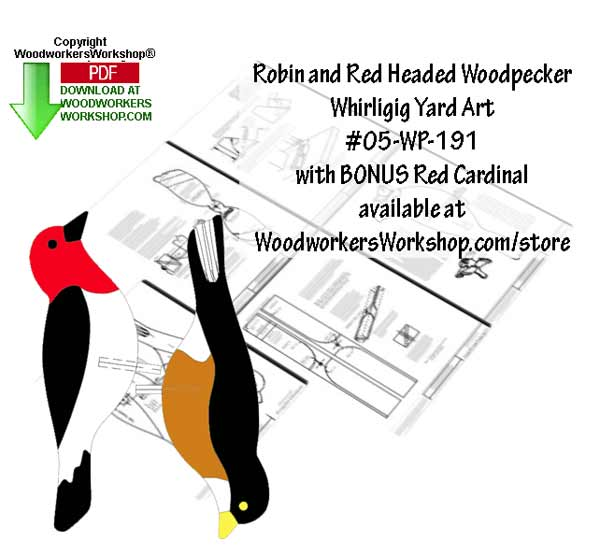 Robin and Red Headed Woodpecker Whirligig Scrollsaw