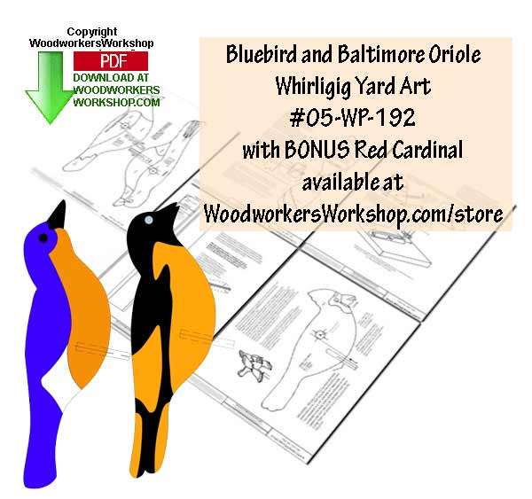 05-WP-192 - Bluebird and Baltimore Oriole  Scrollsaw Woodworking Plans PDF