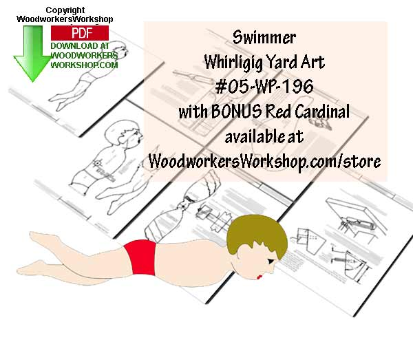 05-WP-196 - Swimmer with Bonus Cardinal Whirligig Scrollsaw Woodworking Plan PDF