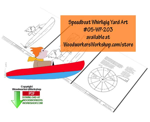 Speedboat Whirligig Downloadable Scrollsaw Pattern
