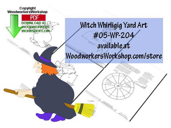 05-WP-204 - Witch Windvane Whirligig Downloadable Scrollsaw Pattern PDF