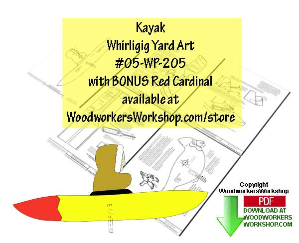 Kayak Whirligig Downloadable Scrollsaw Woodworking Plan