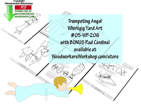 05-WP-206 - Trumpeting Angel Whirligig Downloadable Scrollsaw Woodworking Plan PDF