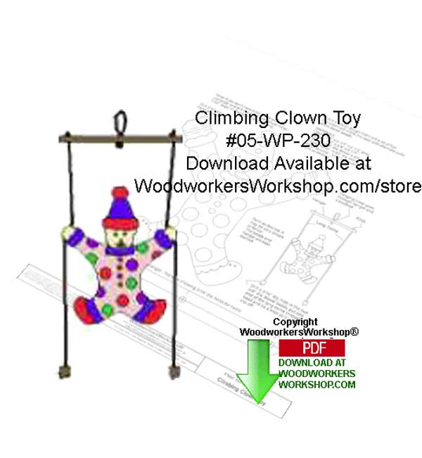 Climbing Clown Toy Downloadable Yard Art Woodcraft Pattern