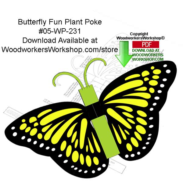 Butterfly Fun Plant Poke Downloadable Yard Art Woodcraft Pattern