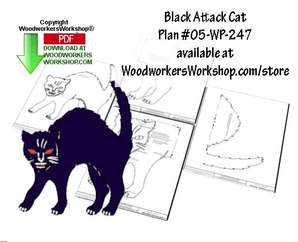 Black Attack Cat Downloadable Scrollsaw Woodworking Plan