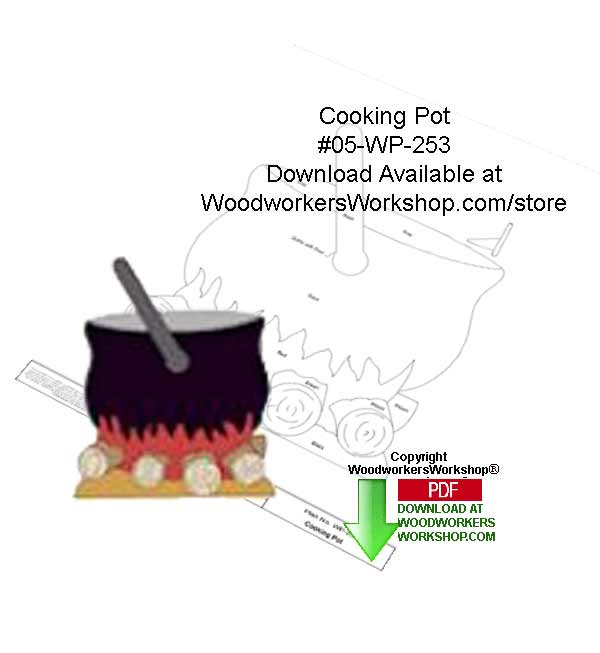 Cooking Pot Downloadable Yard Art Woodcraft Pattern