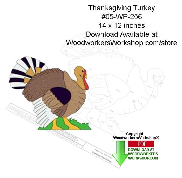 05-WP-256 - Thanksgiving Turkey Downloadable Scrollsaw Woodcrafting Pattern PDF