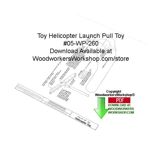 Toy Helicopter Launch Pull Toy Woodworking Pattern