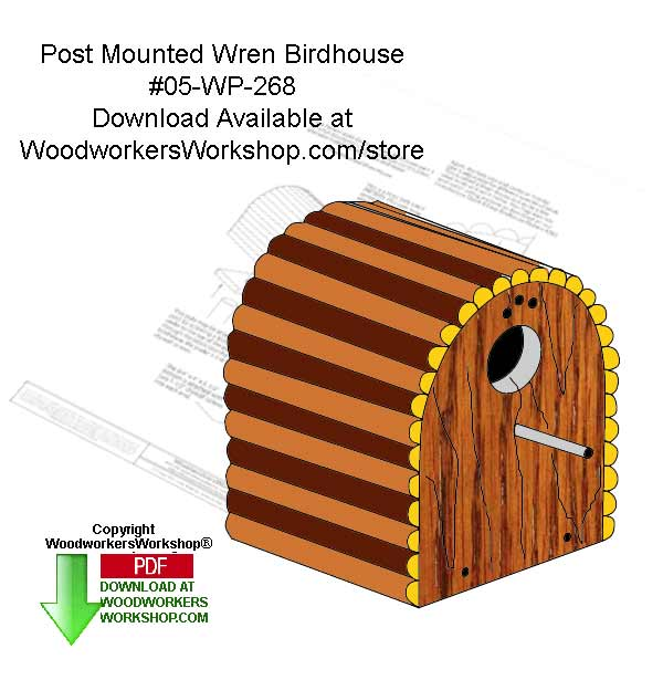 Post Mounted Wren Birdhouses Woodworking Crafts Pattern