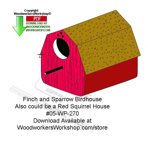 Sparrow or Finch Birdhouses Woodworking Crafts Pattern