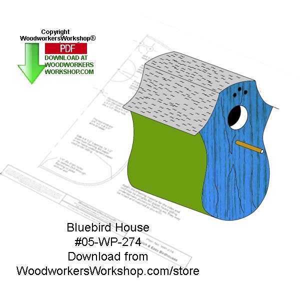 05-WP-274 - Bluebord Birdhouse Wood Crafts Pattern Downloadable PDF