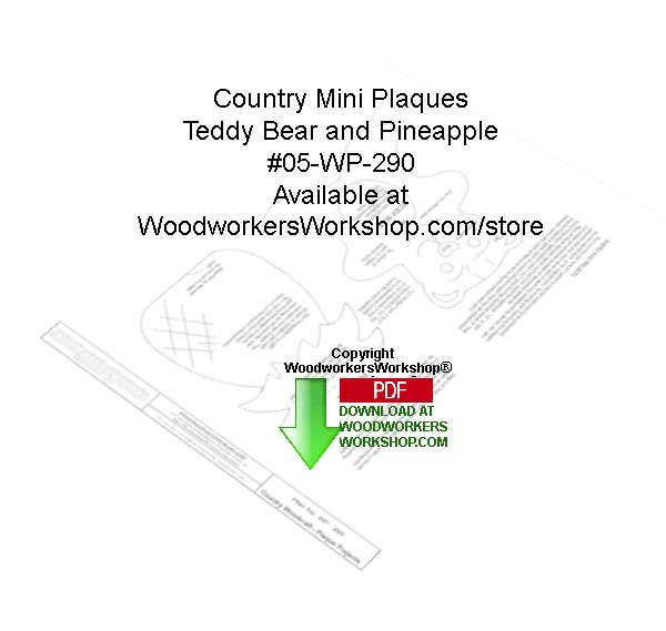 05-WP-290 - Tedy Bears and Pineapple Country Mini Plaques Downloadable Pattern PDF