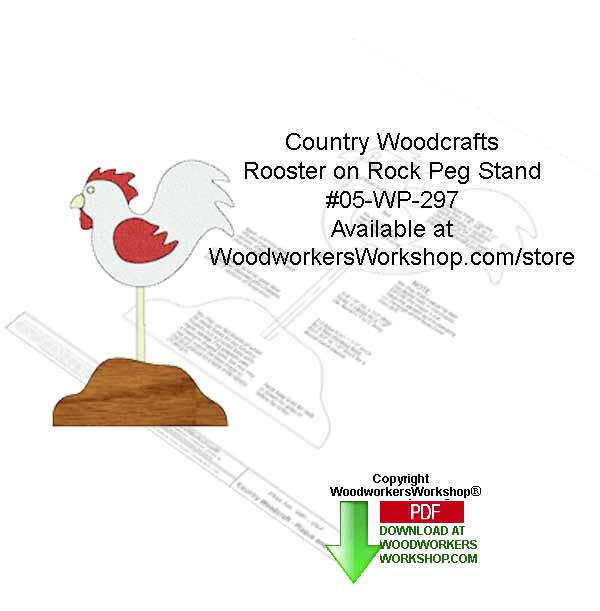 Rooster on Rock Peg Stand Country Woodcrafting Pattern