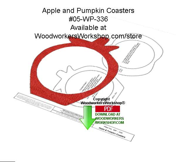 Apple and Pumpkin Coasters Downloadable Woodcrafting Article