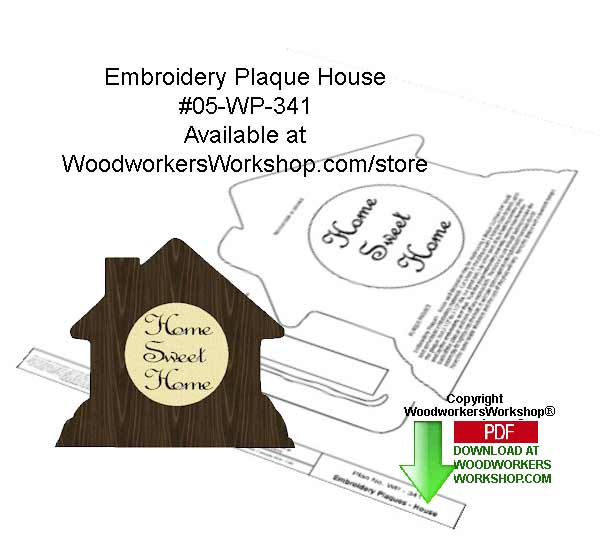 05-WP-341 - Embroidery Plaque House Downloadable Woodcrafting Article PDF