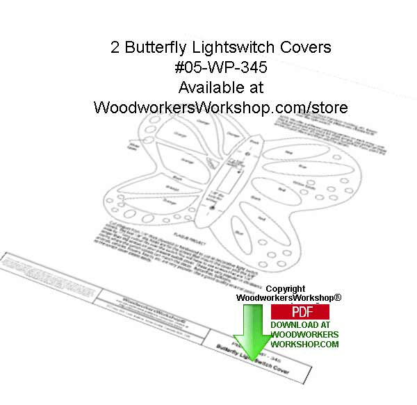 2 Butterfly Light Switch Covers Downloadable Woodcrafting Pattern