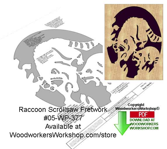 Raccoon Downloadable Scrollsaw Woodcrafting Pattern Stunning Free Scroll Saw Patterns Pdf